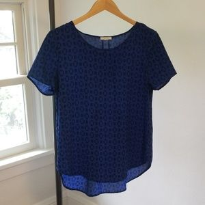 Pleione Blue Short Sleeve Blouse